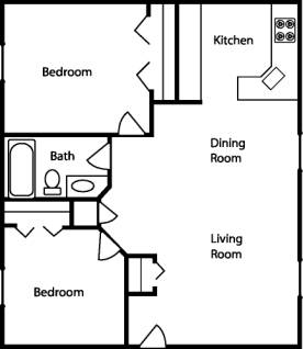 Sample floor plan for an apartment layout