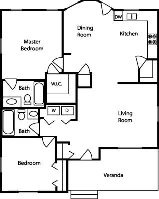 Sample floor plan for one bedroom house layout