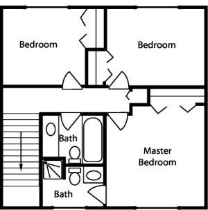 Sample floor plan for two bedroom house, second floor layout